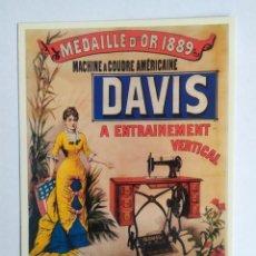 Postales: POSTAL CPM , PUBLICIDAD, MACHINE A COUDRE AMERICAINE, DAVIS, VER FOTOS. Lote 250319430
