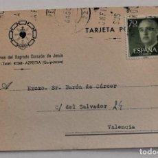 Postales: TAJETA CIRCULADA ESCLAVAS DEL SAGRADO CORAZÓN DE JESÚS - AZPEITIA (GUIPÚZCOA) - AÑO 1961. Lote 252317120