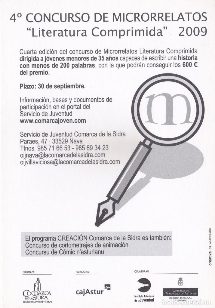 Postales: POSTAL 4º CONCURSO DE MICRORRELATOS 2009. LITERATURA COMPRIMIDA. COMARCA DE LA SIDRA (ASTURIAS) - Foto 2 - 253569260
