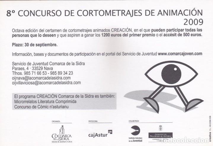 Postales: POSTAL 8º CONCURSO DE CORTOMETRAJES DE ANIMACION 2009. COMARCA DE LA SIDRA (ASTURIAS) - Foto 2 - 253569715