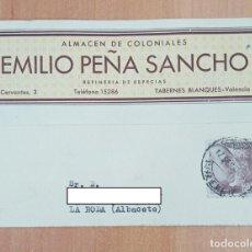 Postales: TARJETA POSTAL ALMACEN DE COLONIALES EMILIO PEÑA SANCHO. TABERNES CLANQUE, VALENCIA 1946. Lote 253814235