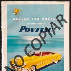 Postales: ANUNCIO DE AUTOMÓBILES PONTIAC. ANUNCIO EXTRAÍDO DE LIBRO CONMEMORATIVO. ESTADOS UNIDOS. AÑO 1950.. Lote 254157810