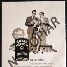 Postales: ANUNCIO DE ACEITE LUBRICANTE ROYAL TRITON. ANUNCIO EXTRAÍDO DE LIBRO CONMEMORATIVO. USA. AÑO 1950.. Lote 254164570