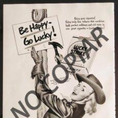 Postales: ANUNCIO DE CIGARRILLOS LUCKY STRIKE. ANUNCIO EXTRAÍDO DE LIBRO CONMEMORATIVO. USA. AÑO 1950.. Lote 254169010