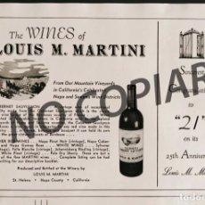 Postales: ANUNCIO DE VINOS LOUIS M. MARTINI. ANUNCIO EXTRAÍDO DE LIBRO CONMEMORATIVO. USA. AÑO 1950.. Lote 254170685