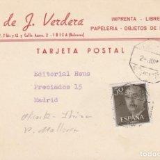 Postales: TARJETA COMERCIAL DE HIJO DE J. VERDERA EN IBIZA - MATASELLOS AMB.. Lote 261258815
