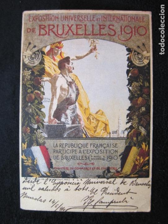 EXPOSITION UNIVERSELLE E INTERNATIONALE DE BRUXELLES 1910-PUBLICIDAD-POSTAL ANTIGUA-(80.266) (Postales - Postales Temáticas - Publicitarias)