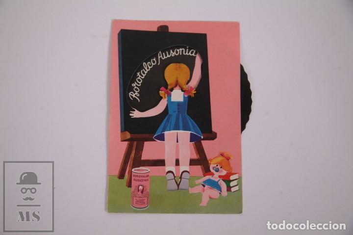 POSTAL PUBLICITARIA RUEDA MÓVIL - BOROTALCO AUSONIA - 10,5 X 14,5CM - PUBLICIDAD (Postales - Postales Temáticas - Publicitarias)