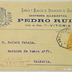 Postales: TARJETA POSTAL PUBLICITARIA. SASTRERÍA ECLESIASTICA. PEDRO RUIZ. VITORIA. 1922.. Lote 263560070