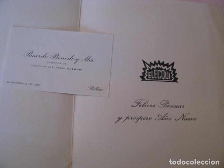 Postales: POSTAL DE FELICITACION DE PARTE DE ELCQUI, BILBAO, INDUSTRIAS ELÉCTRICAS. TARJETA VISITA. AÑOS 60. - Foto 2 - 264206040