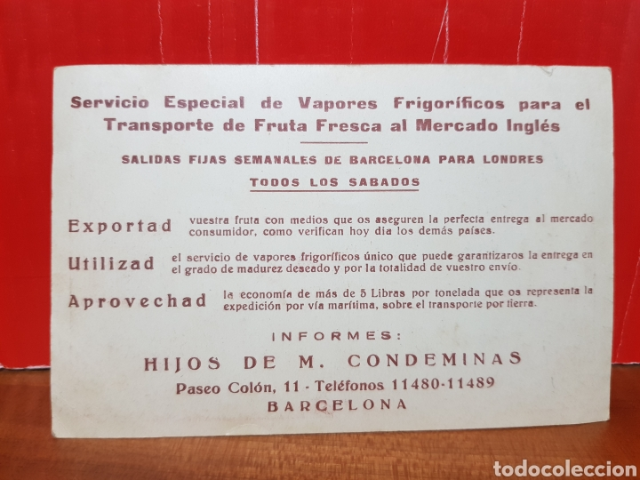 Postales: TARGETA POSTAL PUBLICITARIA - SERVICIO ESPECIAL DE VAPORES FRIGORÍFICOS - Foto 2 - 264443779