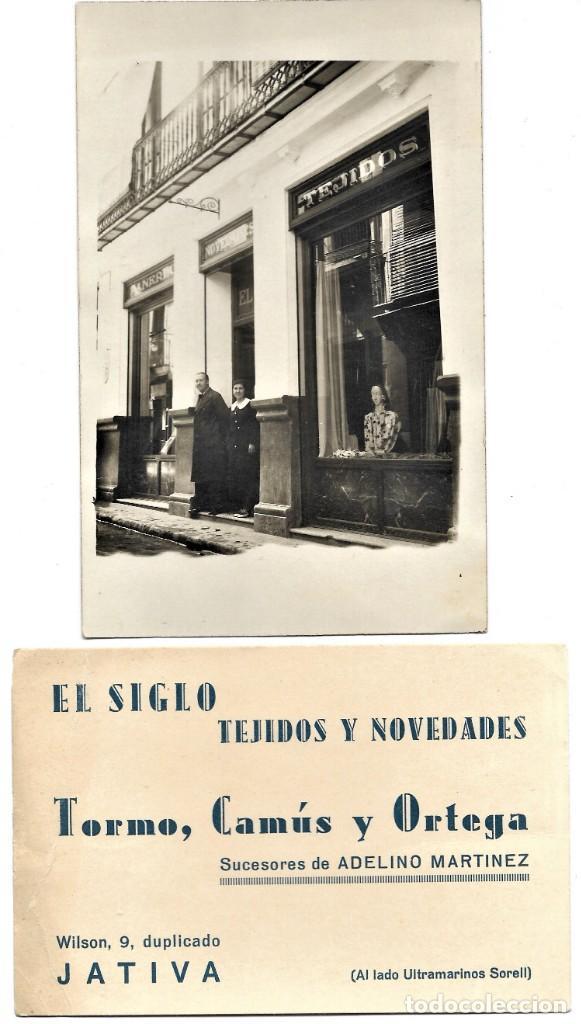 EL SIGLO TEJIDOS Y NOVEDADES. TORMO, CAMÚS Y ORTEGA - JÁTIVA (VALENCIA) - LEONAR 352 UNION POSTALE (Postales - Postales Temáticas - Publicitarias)