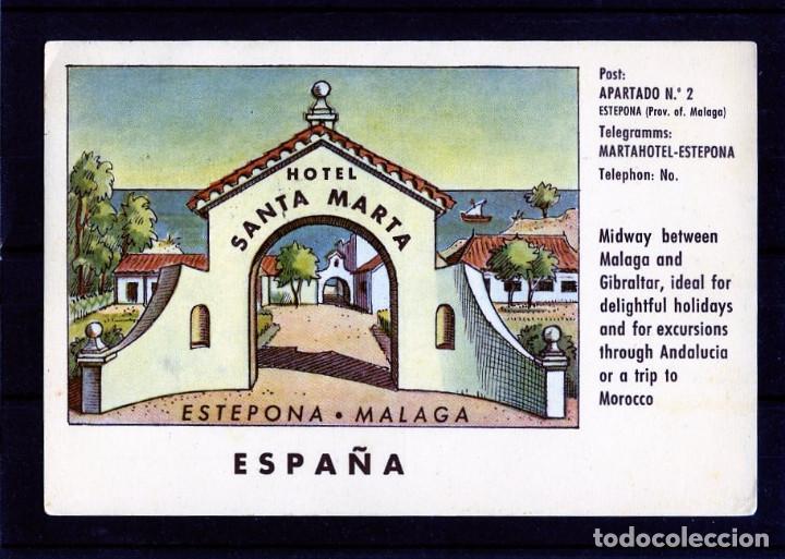 TARJETA POSTAL DE MALAGA=HOTEL SANTA MARTA-ESTEPONA=ESCRITA POR EL REVERSO . (Postales - Postales Temáticas - Publicitarias)