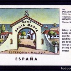 Postales: TARJETA POSTAL DE MALAGA=HOTEL SANTA MARTA-ESTEPONA=ESCRITA POR EL REVERSO .. Lote 268798404