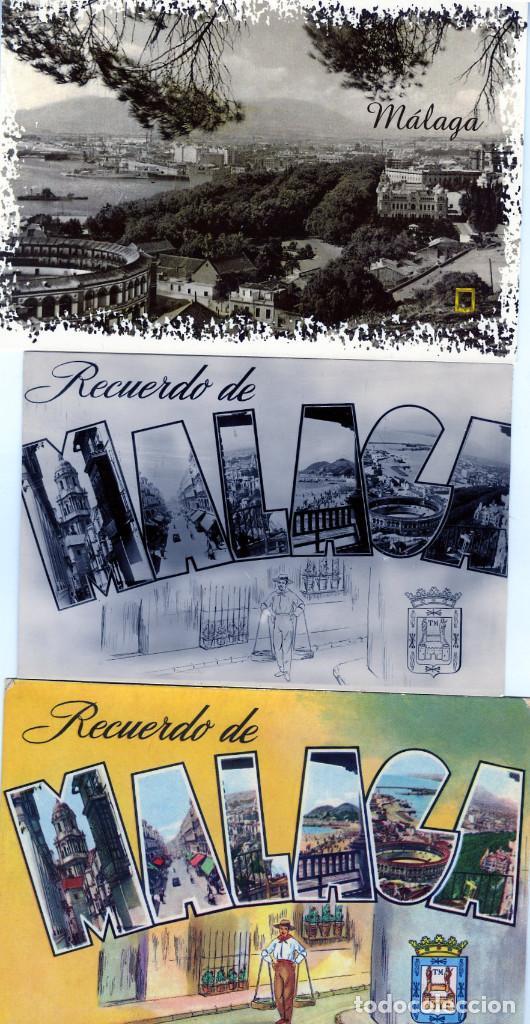 TRES POSTALES PUBLICITARIAS=RECUERDO DE MALAGA=NUEVAS SIN CIRCULAR . (Postales - Postales Temáticas - Publicitarias)