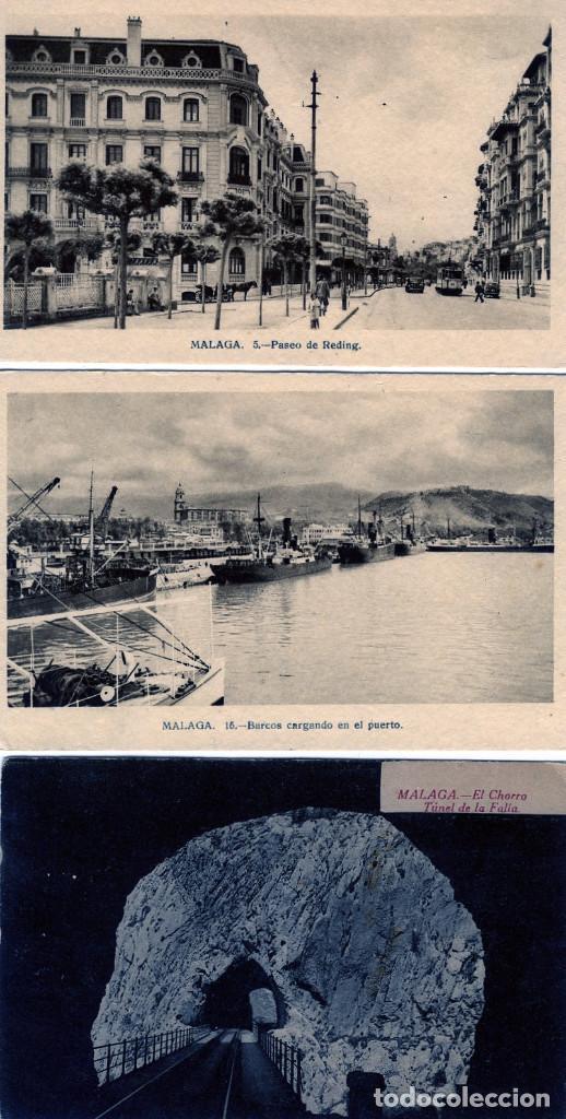 TRES POSTALES DE MALAGA CON PUBLICIDAD DE LIBRERIA CERVANTES DE MALAGA-VER FOTO ADICIONAL REVERSO . (Postales - Postales Temáticas - Publicitarias)