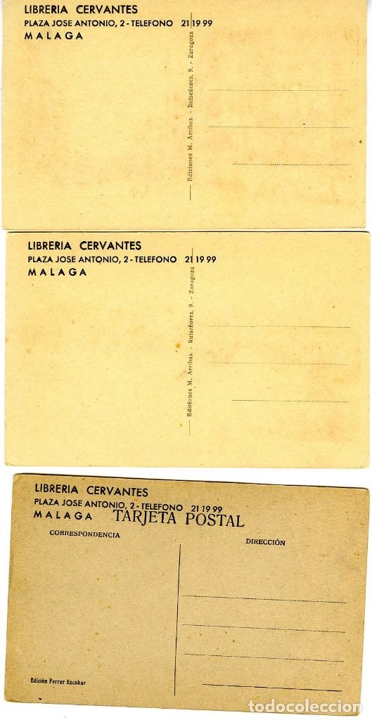 Postales: TRES POSTALES DE MALAGA CON PUBLICIDAD DE LIBRERIA CERVANTES DE MALAGA-VER FOTO ADICIONAL REVERSO . - Foto 2 - 268802134