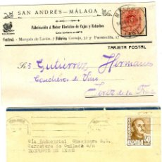 Postales: DOS TARJETAS PUBLICITARIAS FIRMAS COMERCIALES DE MALAGA-VER FOTO ADICIONAL DE LOS REVERSOS .. Lote 269178313