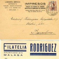 Postales: DOS TARJETAS PUBLICITARIAS FIRMAS COMERCIALES DE MALAGA-VER FOTO ADICIONAL DE LOS REVERSOS .. Lote 269178428