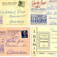 Postales: CUATRO TARJETAS PUBLICITARIA (LIBRERIA DENIS-MALAGA)-VER FOTOS ADICIONALES DE LOS REVERSOS .. Lote 269335473