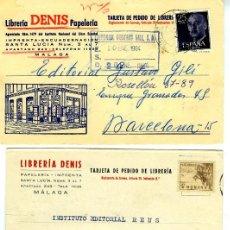 Postales: TRES TARJETAS PUBLICITARIAS (LIBRERIA DENIS-MALAGA)-VER FOTOS ADICIONALES DE LOS REVERSOS .. Lote 269335678