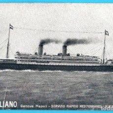 Postales: LLOYD ITALIANO. GENOVA NAPOLI - SERVIZIO RAPIDO MEDITERRANEO - BUENOS AIRES. CIRCULADA EN 1919.. Lote 269365383