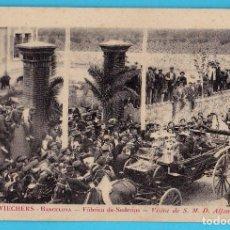 Postales: PUIG Y WIECHERS, BARCELONA. FÁBRICA DE SEDERIAS. VISITA DE S. M. D. ALFONSO XIII.. Lote 277606163