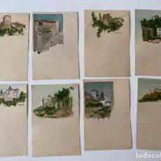 Postales: LIBRERIA GUEVARA , GRANADA , 8 POSTALES CON PUBLICIDAD , ILUMINADAS A MANO. Lote 277621813