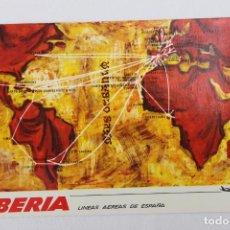 Postales: POSTAL IBERIA LINEAS AEREAS DE ESPAÑA MAPA DE RUTAS 1969. Lote 278674343