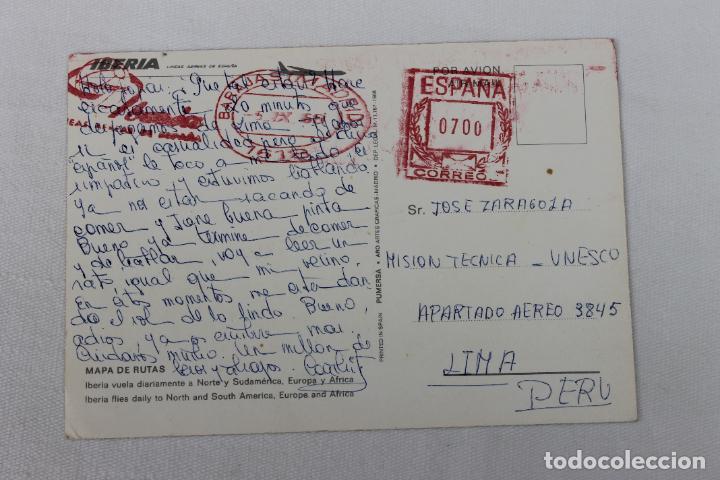 Postales: POSTAL IBERIA LINEAS AEREAS DE ESPAÑA MAPA DE RUTAS 1968 - Foto 2 - 278674413