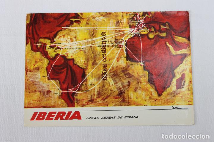 POSTAL IBERIA LINEAS AEREAS DE ESPAÑA MAPA DE RUTAS 1968 (Postales - Postales Temáticas - Publicitarias)