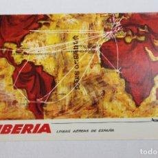 Postales: POSTAL IBERIA LINEAS AEREAS DE ESPAÑA MAPA DE RUTAS 1968. Lote 278674413