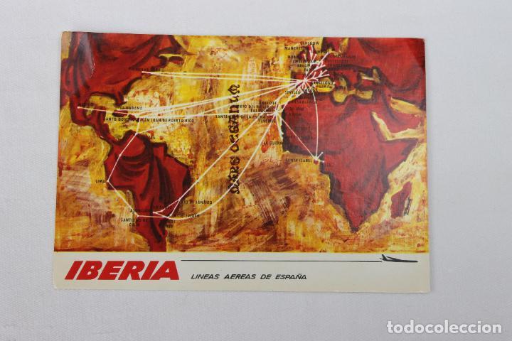 POSTAL IBERIA LINEAS AEREAS DE ESPAÑA MAPA DE RUTAS 1968 Nº2 (Postales - Postales Temáticas - Publicitarias)