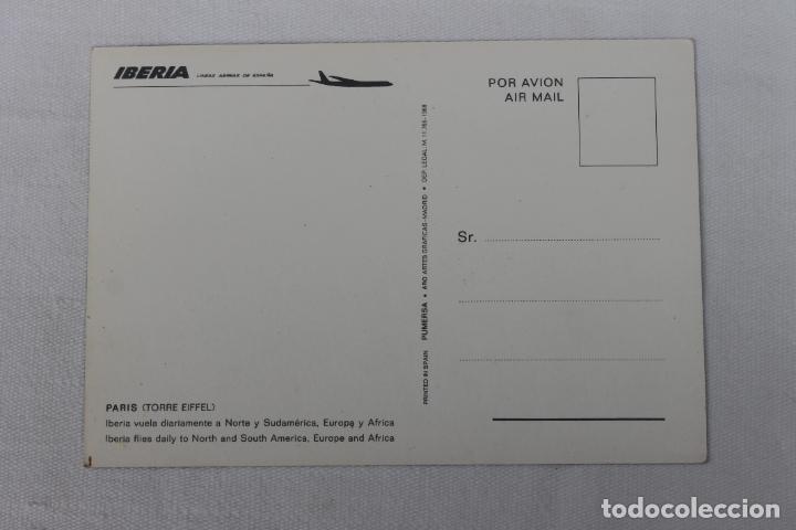 Postales: POSTAL IBERIA LINEAS AEREAS DE ESPAÑA PARIS TORRE EIFFEL 1968 - Foto 2 - 278674588