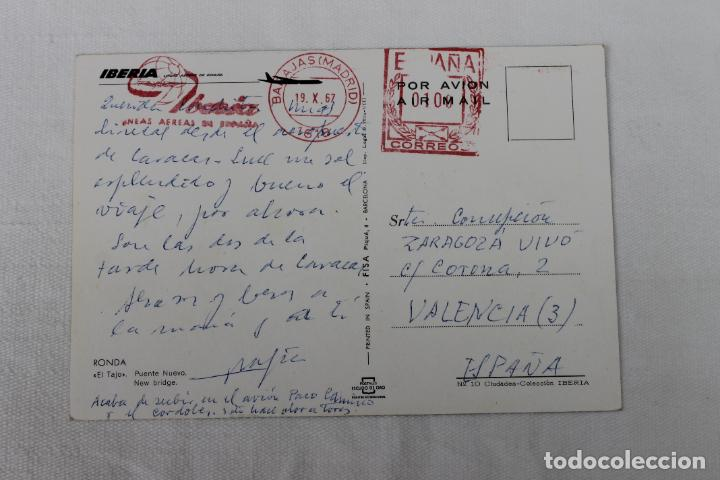 Postales: POSTAL IBERIA LINEAS AEREAS DE ESPAÑA RONDA EL TAJO EL PUENTE NUEVO 1967 - Foto 2 - 278674913