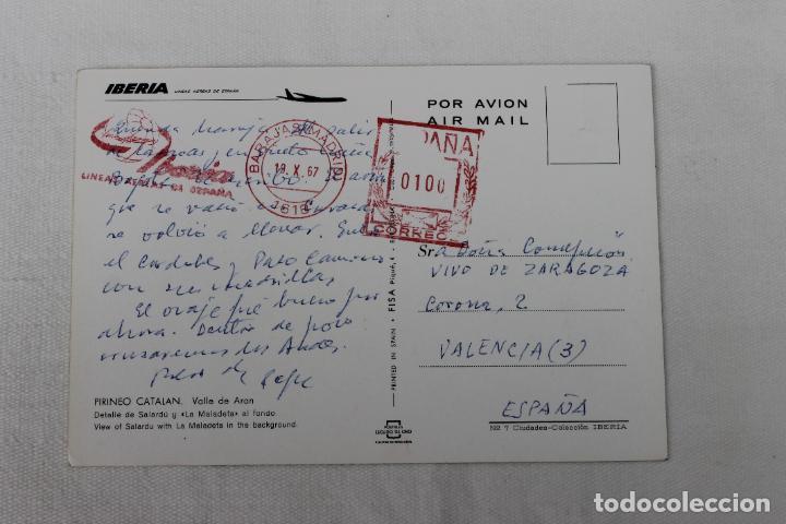 Postales: POSTAL IBERIA LINEAS AEREAS DE ESPAÑA PIRINEO CATALAN VALLE DE ARAN 1967 - Foto 2 - 278674973
