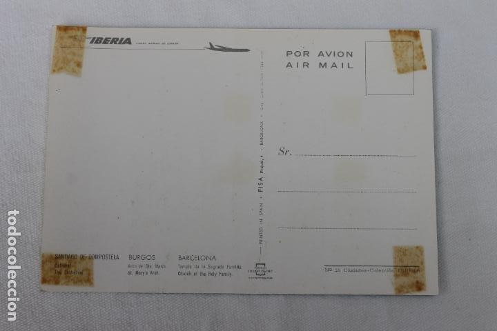 Postales: POSTAL IBERIA LINEAS AEREAS DE ESPAÑA SANTIAGO C. BURGOS BARCELONA 1966 - Foto 2 - 278675423