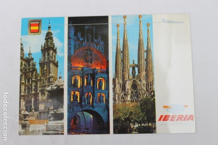 POSTAL IBERIA LINEAS AEREAS DE ESPAÑA SANTIAGO C. BURGOS BARCELONA 1966 (Postales - Postales Temáticas - Publicitarias)