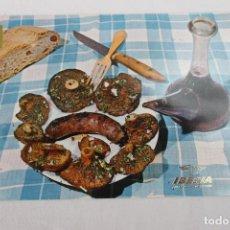 Postales: POSTAL COLECCION IBERIA PLATOS TIPICOS BUTIFARRA CON SETAS A LA PARRILLA. Lote 278675783