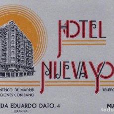 Postales: MADRID, POSTAL PUBLICIDAD DEL HOTEL NUEVA YORK. VER REVERSO. Lote 288204023