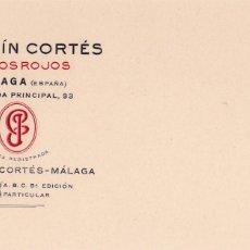 Postales: MALAGA, POSTAL COMERCIAL DE ÓXIDOS ROJOS JOAQUIN CORTÉS. TEXTO EN RELIEVE. Lote 288206803
