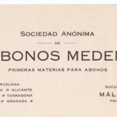 Postales: POSTAL COMERCIAL DE ABONOS MEDEM. BARCELONA, VALENCIA, TARRAGONA, ALICANTE, MALAGA, BILBAO Y GRANADA. Lote 288207188