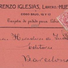 Postales: HUESCA, POSTAL PUBLICIDAD LIBRERO LORENZO IGLESIAS AÑO 1911, VER REVERSO. Lote 288209933