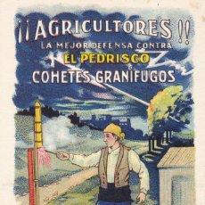 Postales: TARRAGONA, REUS, POSTAL PUBLICIDAD DE COHETES GRANIFUGOS MARCA ESPINÓS. CROMOLITOGRAFICA. Lote 288211218