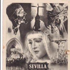 Postales: SEVILLA, SEMANA SANTA. POSTAL PUBLICIDAD DE LA FERIA DE SEVILLA, FOTO SERRANO. VER REVERSO. Lote 288220078