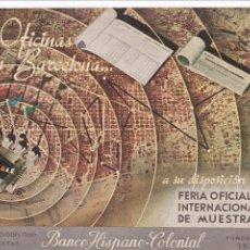 Postales: BARCELONA, POSTAL PUBLICIDAD DEL BANCO HISPANO COLONIAL. VER REVERSO. Lote 288223208