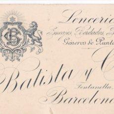 Postales: BARCELONA, POSTAL COMERCIAL DE BATISTA Y CIA. LENCERIA ENCAJES BORDADOS GENEROS DE PUNTO. Lote 288224128
