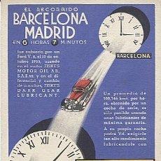 Postales: X126206 BARCELONA - MADRID PUBLICIDAD LUBRICANTS FISKE' S COCHE AUTOMOVIL MACAYA LAYETANA, 23 BARNA. Lote 288951933