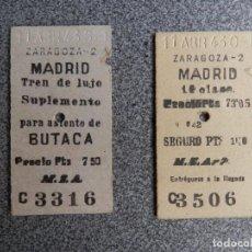 Cartoline: FERROCARRIL DOS BILLETES AÑO 1943 ZARAGOZA MADRID TREN LUJO SUPLEMENTO ASIENTO DE BUTACA. Lote 290026583