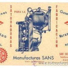 Postales: TARJETA POSTAL PUBLICITARIA MANUFACTURAS SANS. SAN SEBASTIAN. SIFONES. SODAS. GASEOSAS.... Lote 293773348